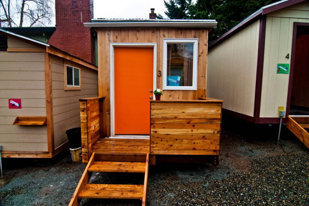 A Tiny House maintained for the homeless by the Low Income Housing Institute