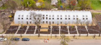 Quonset hut building in Detroit called the Caterpillar