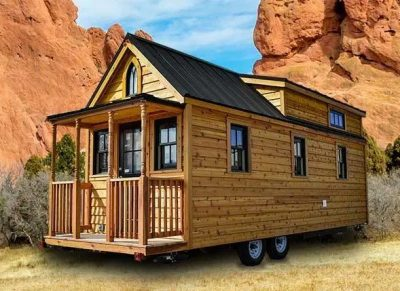 Photo of the first Tumbleweed Tiny House model, Elm, designed in 1999
